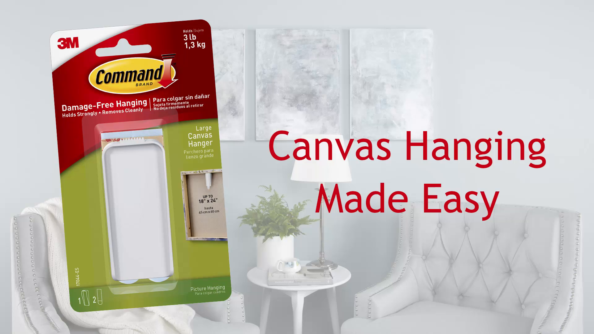 Command Canvas Hanger, Large, White, 3-Hangers & 4-Strips ...