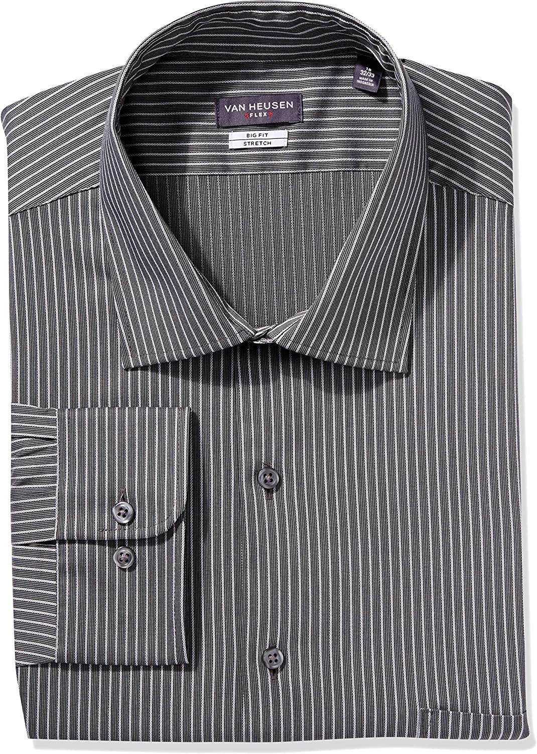 Van Heusen Men's Big Fit Dress Shirts Flex Collar Stretch Stripe: Clothing