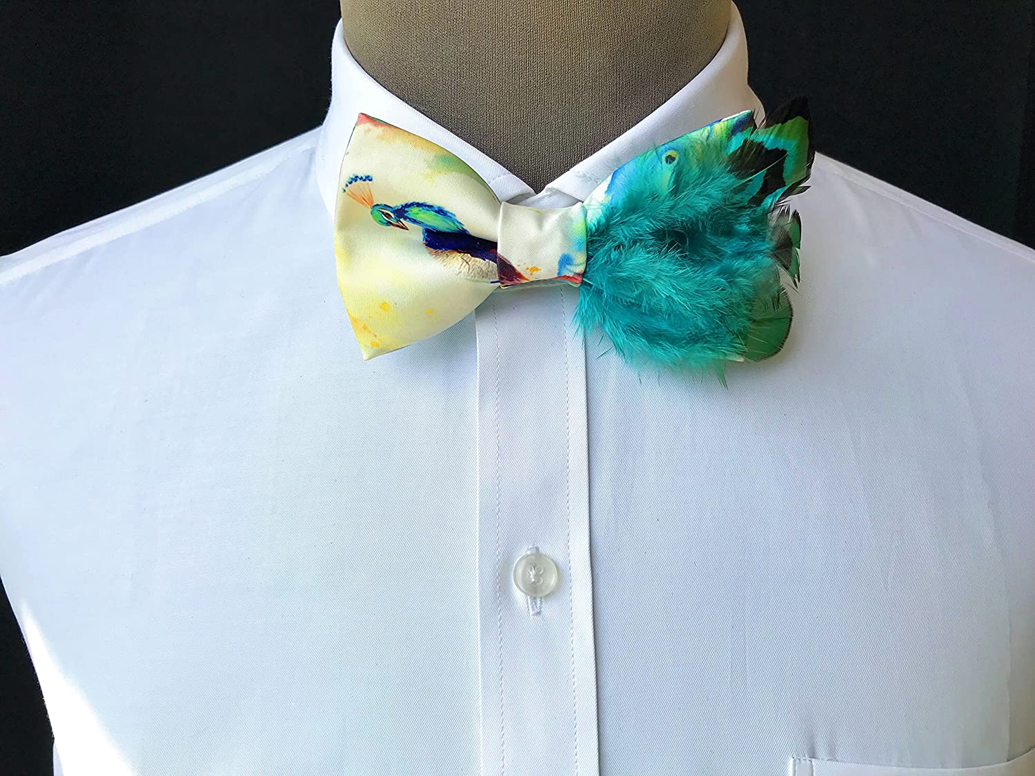 Men Handmade Feather Bow Tie Adjustable Neck Peacock Tail Bottom Malachite Green