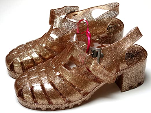 b3716d2e845a Ladies Gold Glitter Jelly Shoes Sandals UK Size 5-6  Amazon.co.uk ...