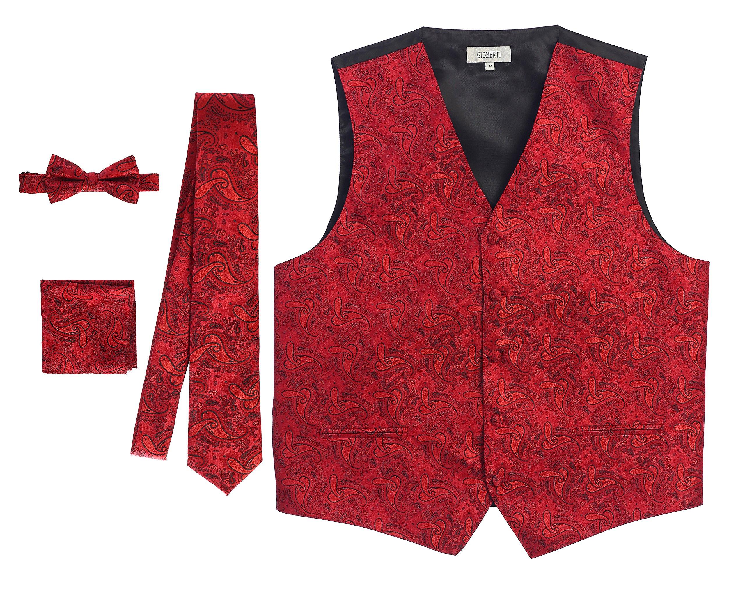Gioberti Men's 4 Piece Formal Paisley Vest Set, Red, 3X Large