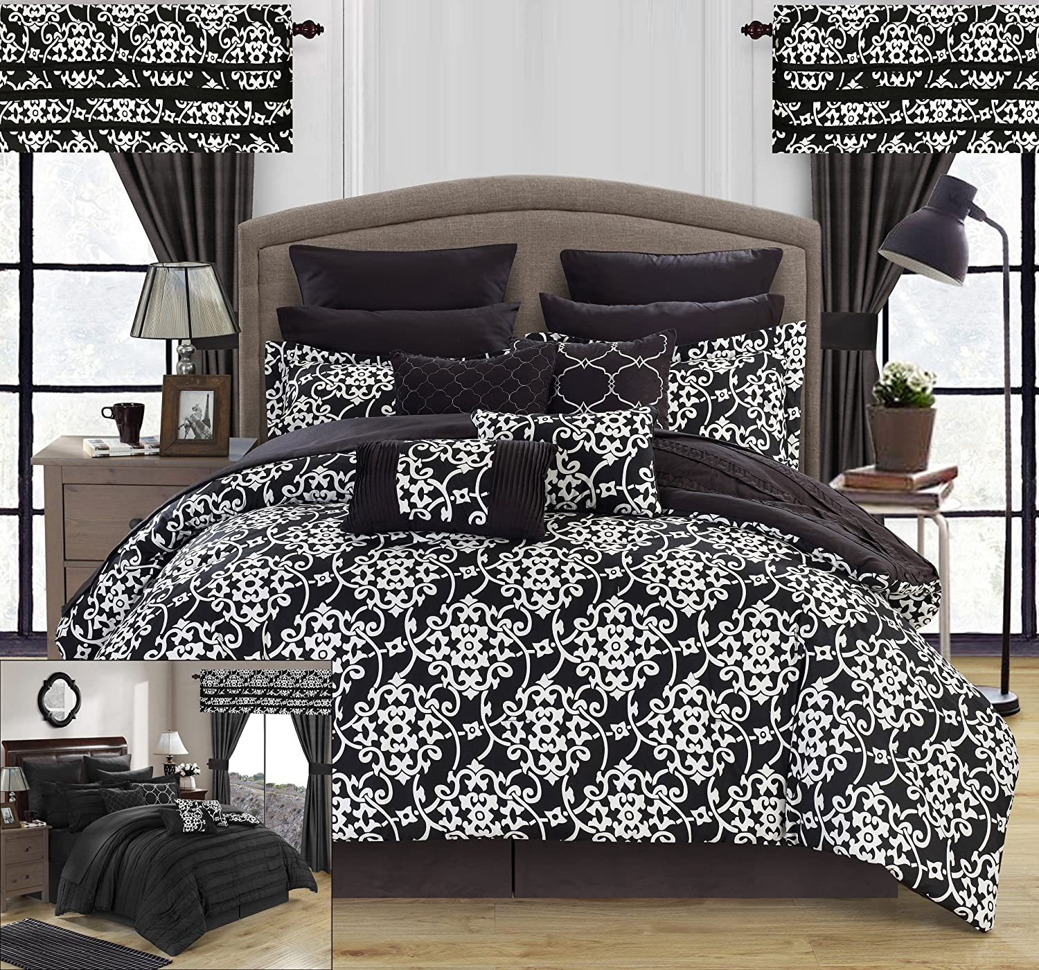 Chic Home Hailee 24 Piece Comforter Set Complete Bed in a Bag Pleated Ruffles Black