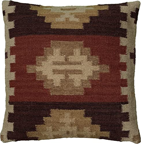 Rizzy Home T05986 Woven Southwestern Patten Decorative Pillow, 18 by 18-Inch, Beige