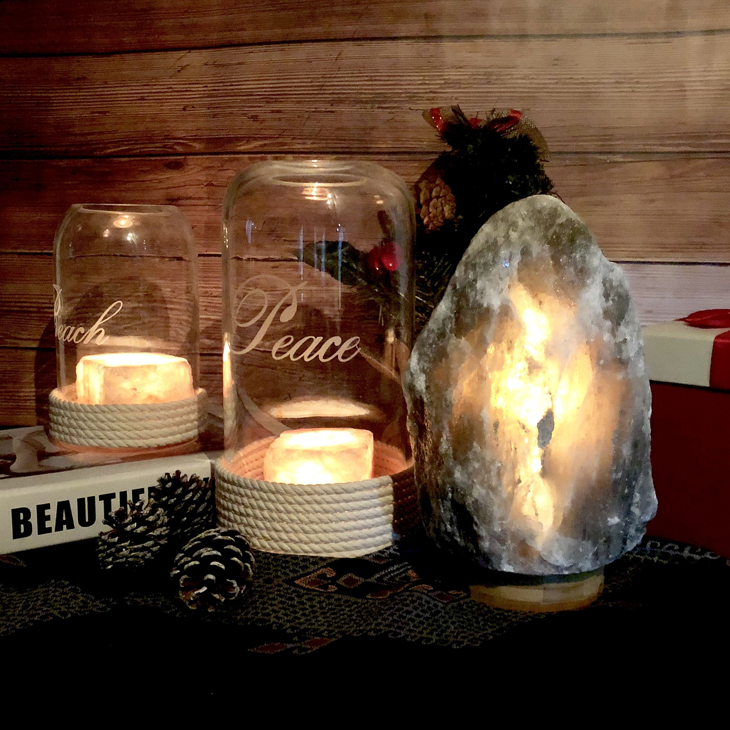 Rare Grey Gray White Black Authentic Himalayan Salt Lamp Lights Set (5-8 lbs 7-11''),Table Lamp Bamboo Base Touch Dimmer Switch Control with 1 Salt Rock Night Light, Set of 2 Pack Salt Candle Holders by MAYMII·HOME (Image #8)