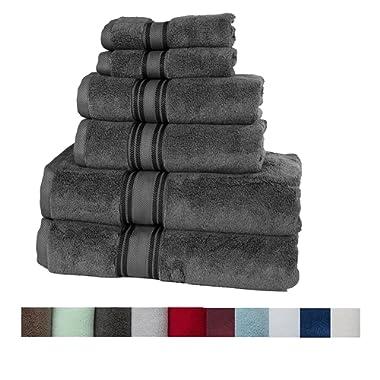 Casa Lino Quick Dry Super Zero Twist 6 Piece Bath Towel Set 7 Star Hotel Luxury Collection, 2 Bath Towel 28x54, 2 Hand Towel- 16x28, Face Towel- 13x13 (Grey)