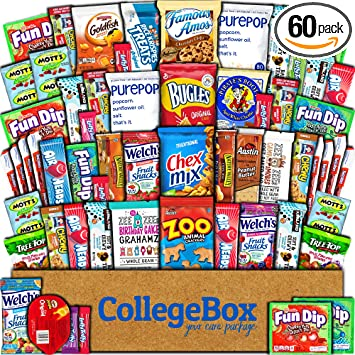 College Box Care Package (60 Count) Snacks Cookies Bars Chips Candy  Ultimate Variety Gift Box Pack