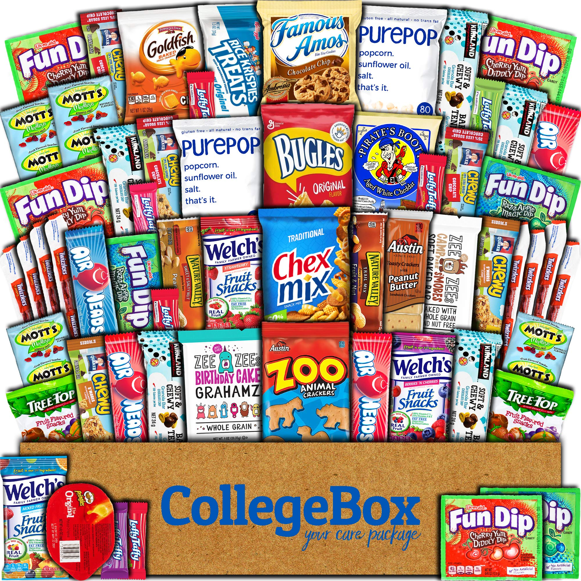 CDM product College Box Care Package (60 Count) Snacks Cookies Bars Chips Candy Ultimate Variety Gift Box Pack Assortment Basket Bundle Mixed Sampler Treats College Students Office Fall Back to School Halloween big image