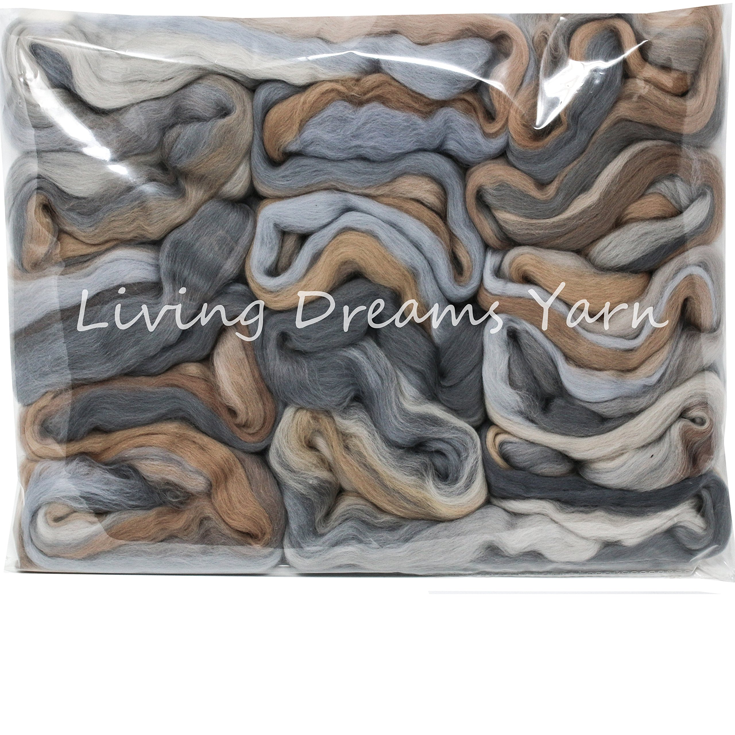 Superfine Merino Fiber for Spinning & Felting. Super Soft Combed Top Color Blend. Nomad by Living Dreams Yarn