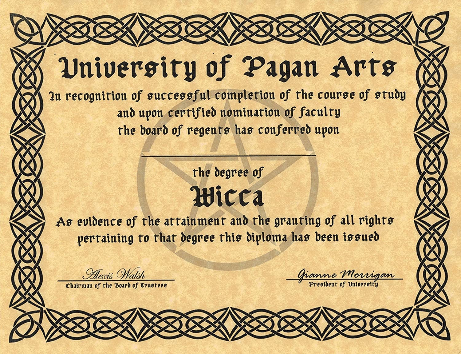 Amazon.com: Novelty Diploma in Wicca, Book of Shadows Page ...
