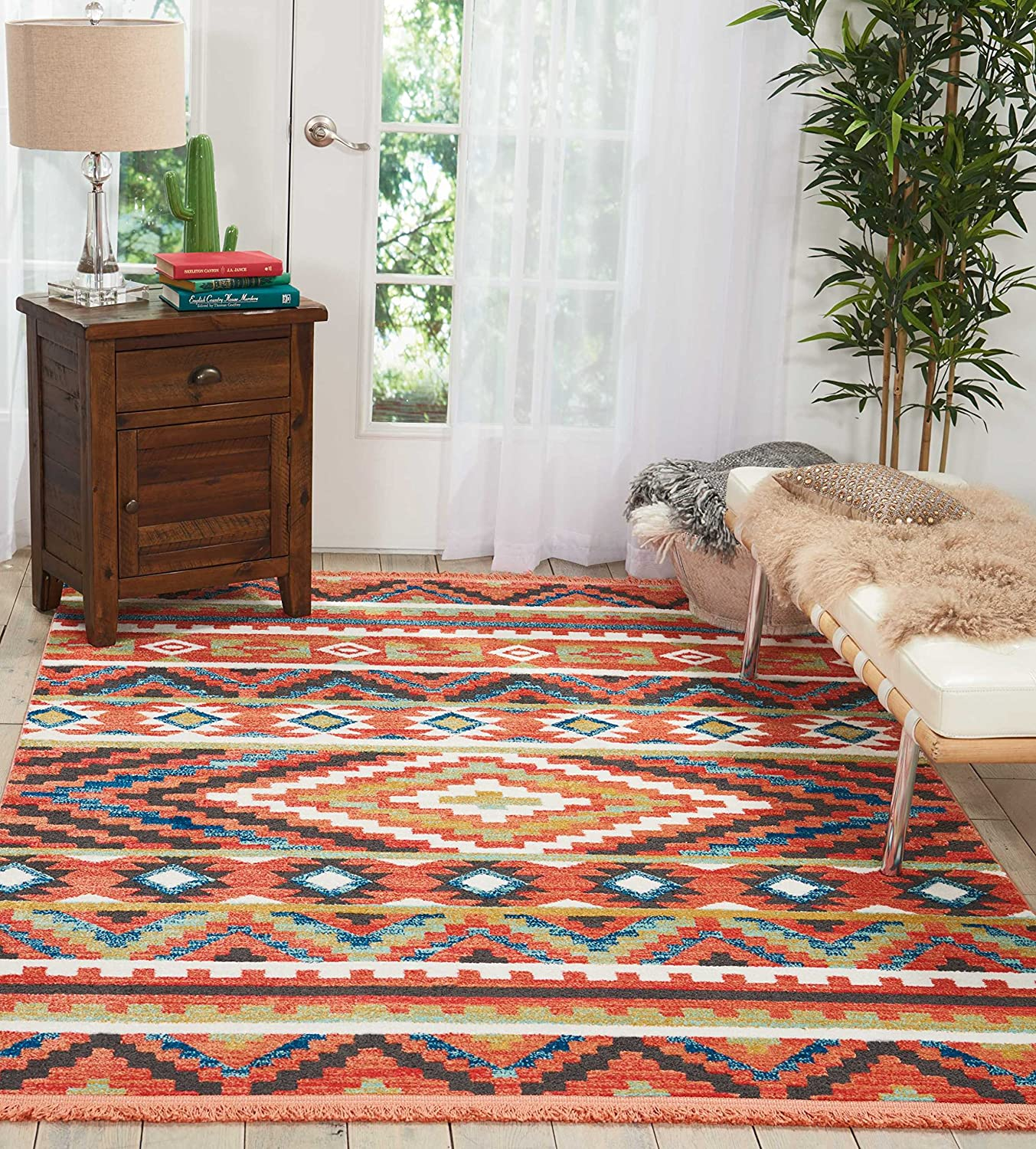 """Nourison Tribal Decor Traditional Colorful Orange Area Rug 5 Feet 3 Inches by 7 Feet 6 Inches, 5'3""""X7'6"""""""