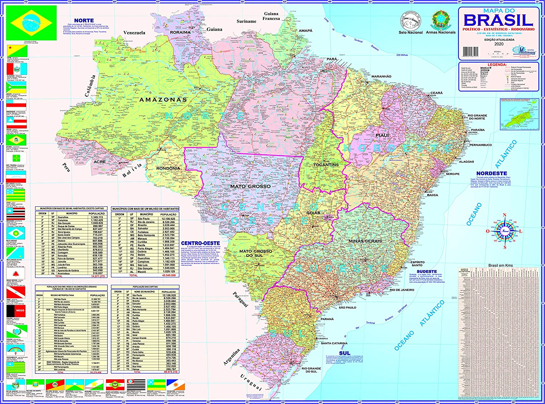 MAPA DO BRASIL – POLÍTICO E RODOVIÁRIO | Amazon.com.br
