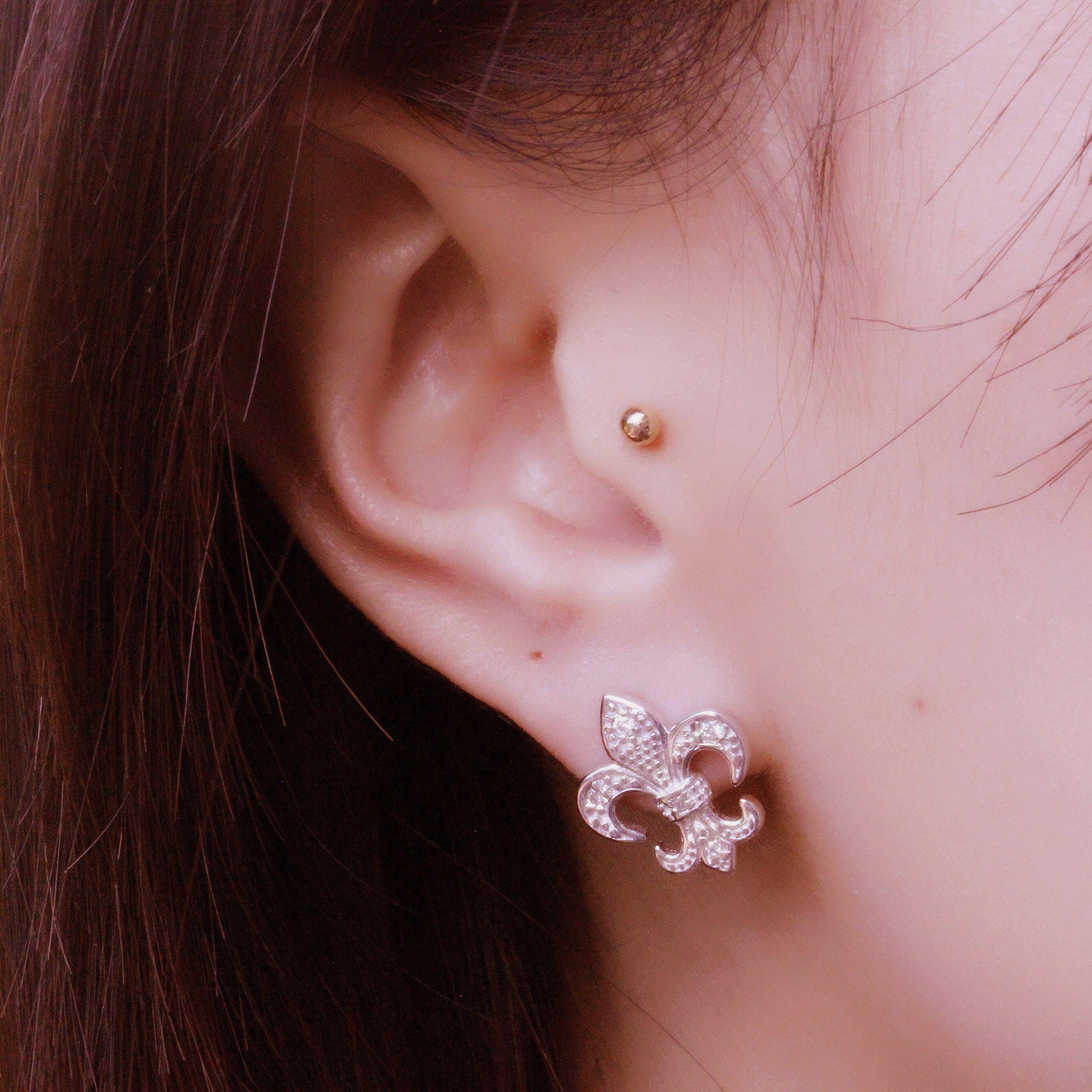 Spoil Cupid Rhodium Plated Sterling Silver Cubic Zirconia the Fleur De Lis Lily Flower Stud Earrings