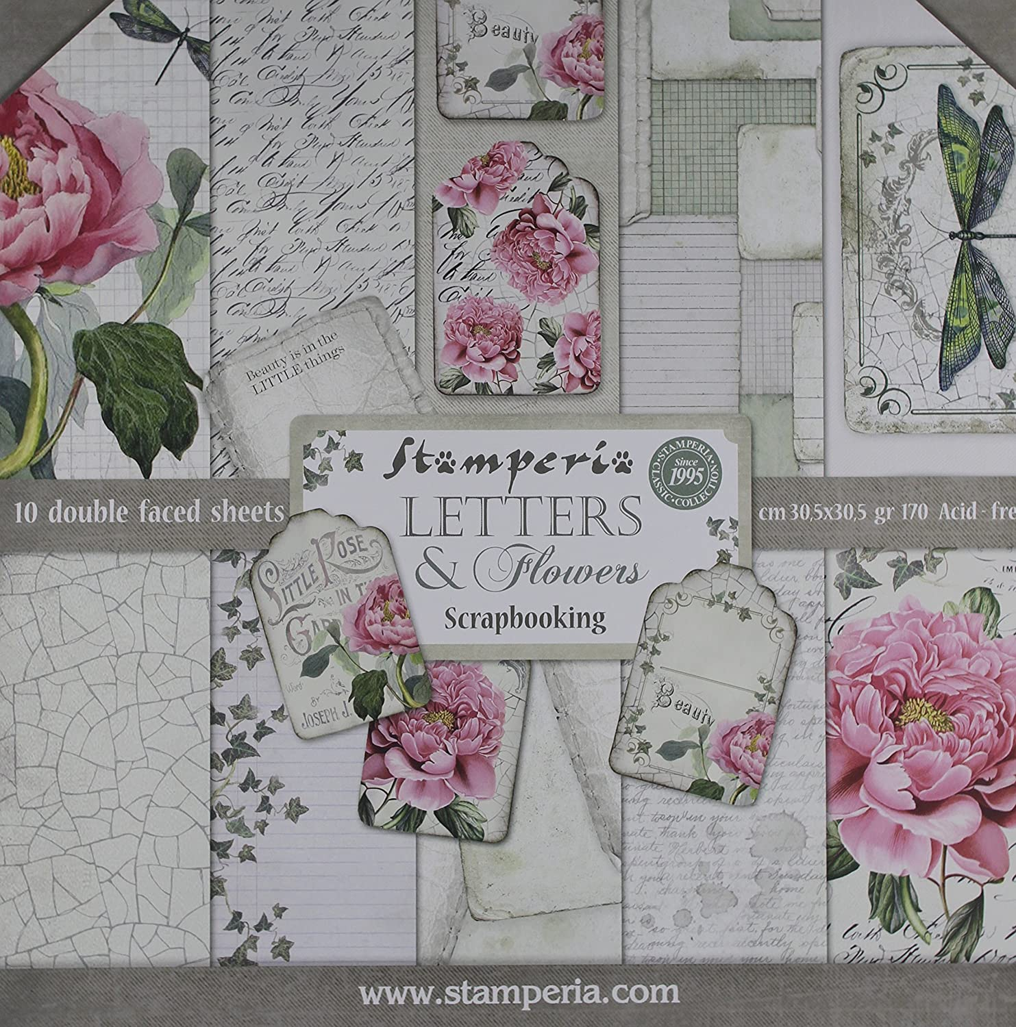 Stamperia Intl Letters & Flowers Double Sided Paper Pad (10/Pack), 12 x 12 12 x 12 SBBL22