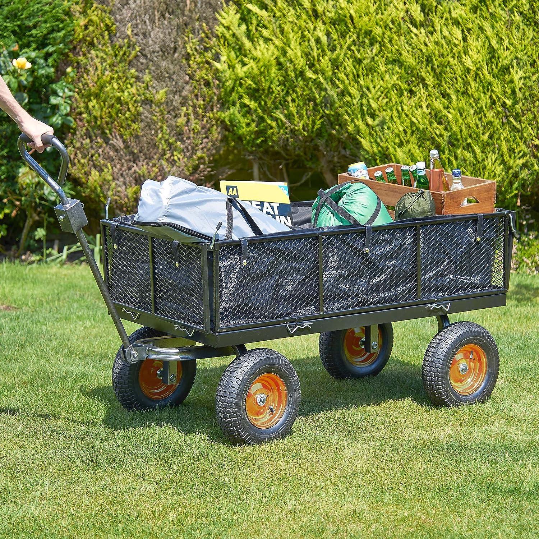 Carrito de jardín VonHaus con rejilla y forro, es muy resistente y tiene 4 ruedas: Amazon.es: Jardín