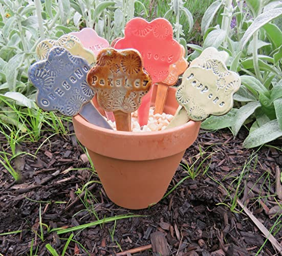 Ceramic Garden Markers, Set Of 3, Flower Shapes In Assorted Glaze Colors ,  YOUR