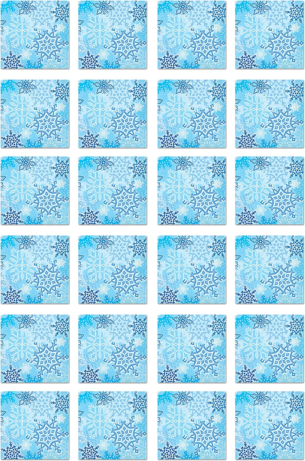 Beistle Snowflake Beverage Napkins 2-Ply Light Blue/White, Pack of 48