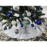 """39.5"""" White Christmas Tree Skirt with Silver Sequin Trim"""