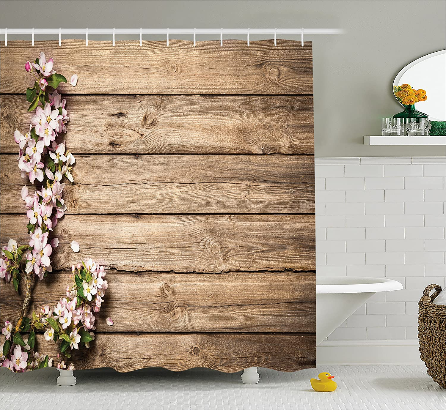 Ambesonne Rustic Home Decor Shower Curtain, Sweet Spring Flowering Branch on Weathered Wooden Blooming Orchard, Fabric Bathroom Decor Set with Hooks, 70 Inches, Pink Brown Green