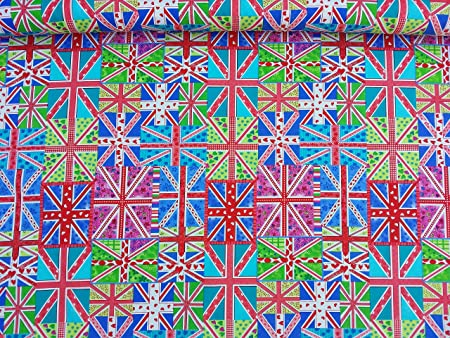 Fabric-Dressmaking-Quilting-Craft-Sewing UNION JACK FLAG 100/% COTTON PRINT