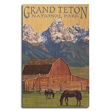 Lantern Press Grand Teton National Park, Wyoming - Barn and Mountains (10x15 Wood Wall Sign, Wall Decor Ready to Hang)