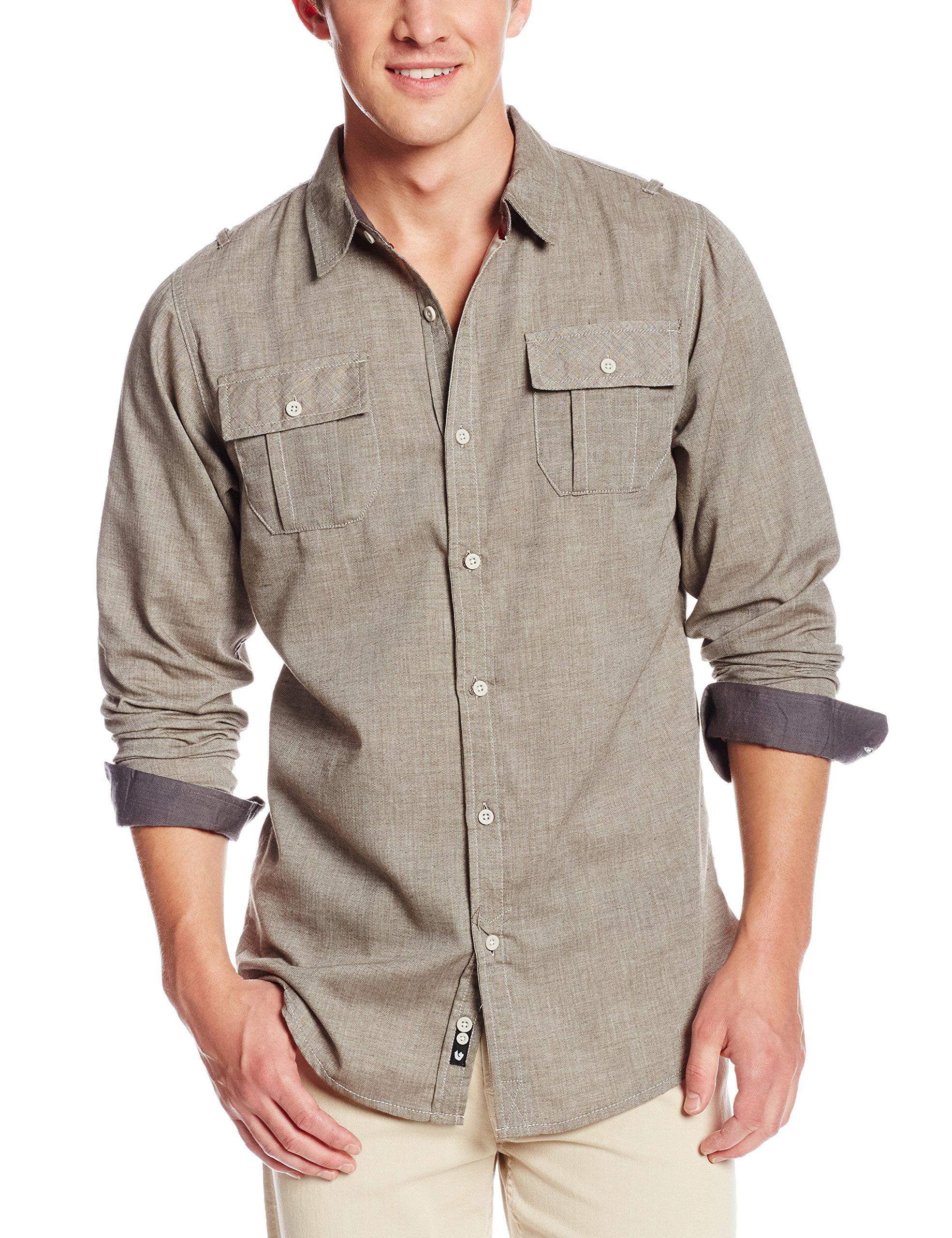 Burnside Mens Carter 2 Solid Flannel Button Down Long Sleeve Shirt