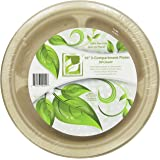 """Earth's Natural Alternative Wheat Straw Fiber, Bagasse (Sugarcane) Tree Free 10"""" 3-Compartment Plate, 50 Pack"""