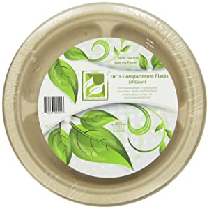 """Earth's Natural Alternative Eco-Friendly, Natural Compostable Plant Fiber 10"""" 3-Compartment Plate, Natural, 50 Count"""