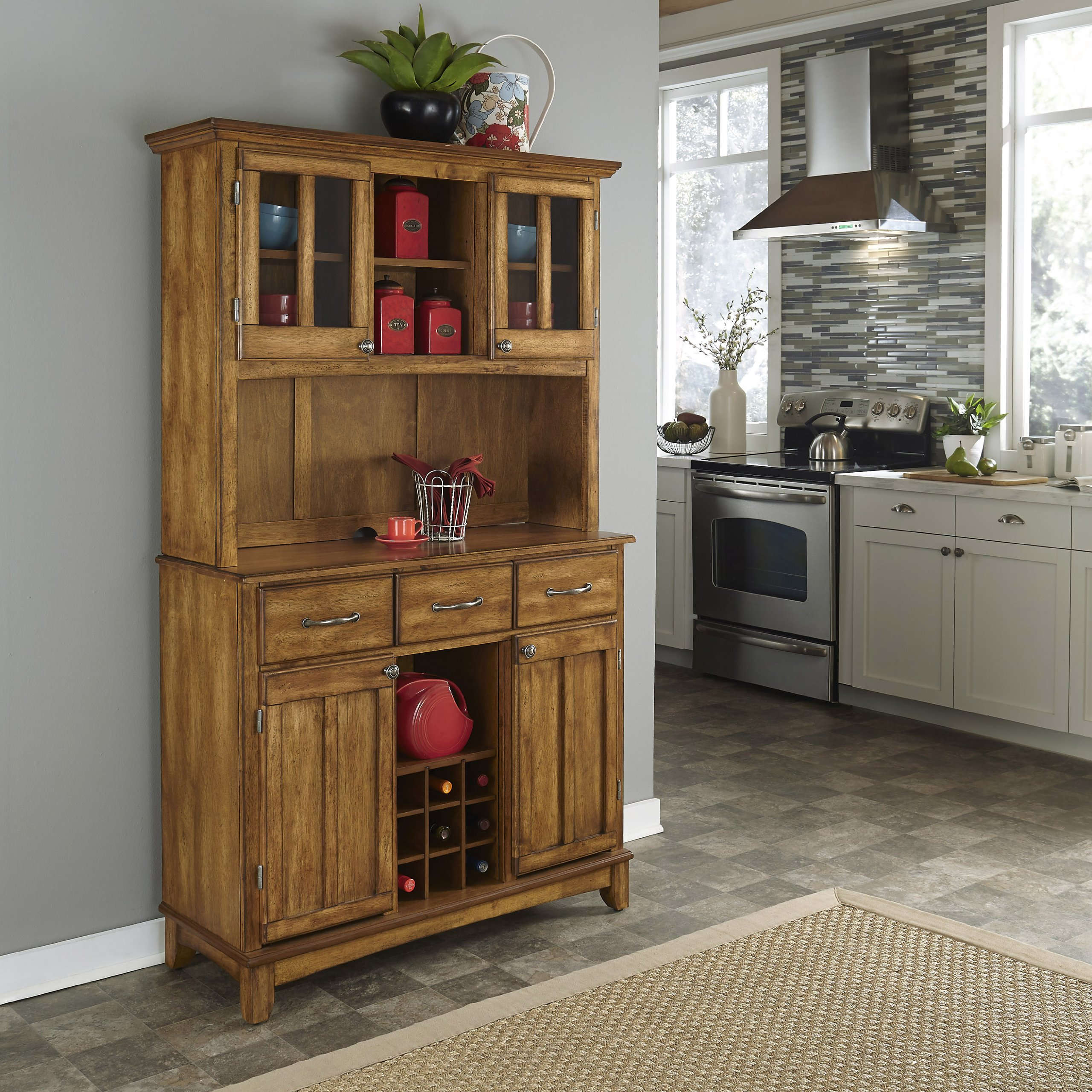 Buffet of Buffets Cottage Oak with Wood Top by Home Styles by Home Styles (Image #2)