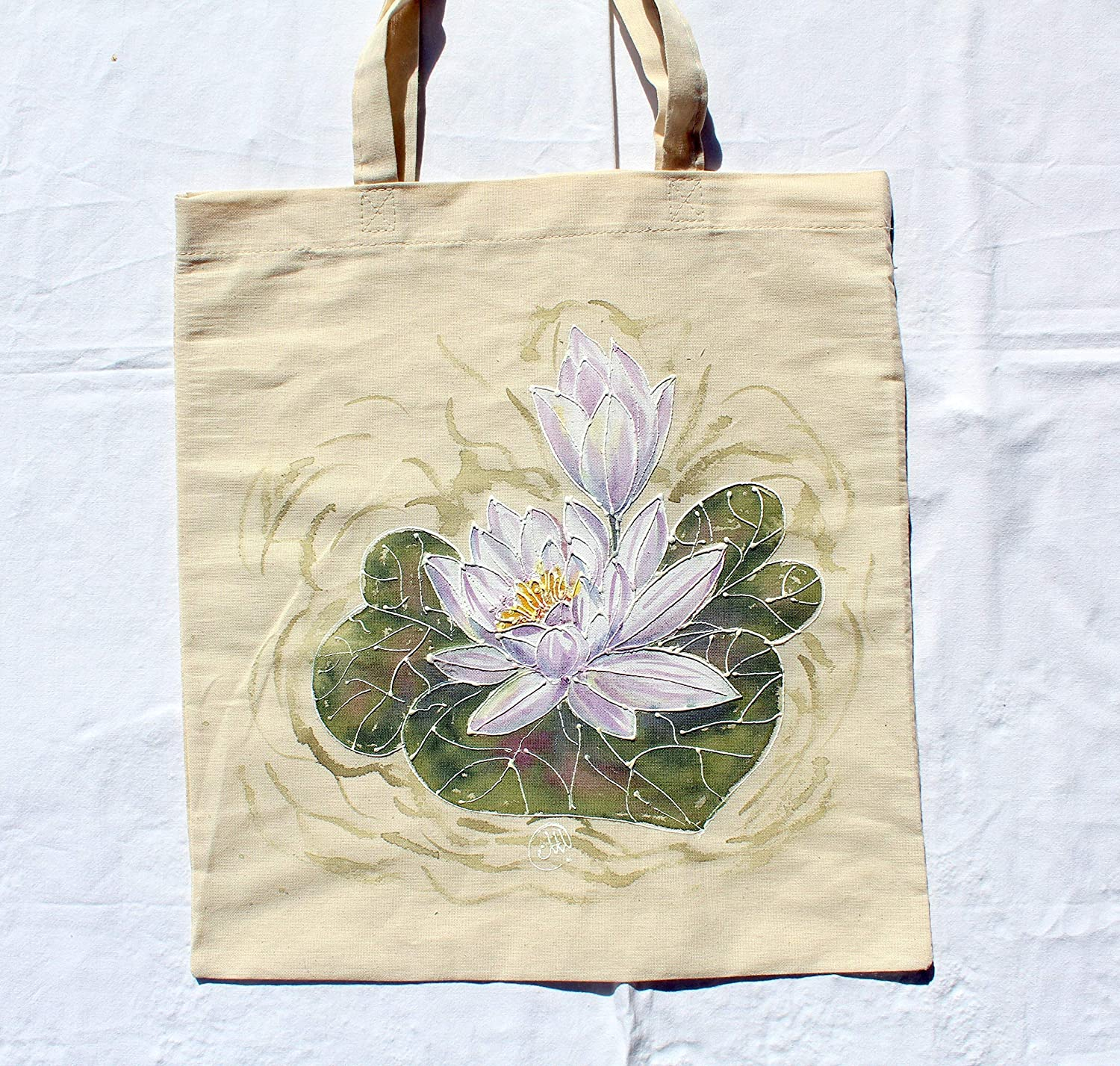 Amazon Com Sale 25 Off Hand Painted Water Lily Cotton
