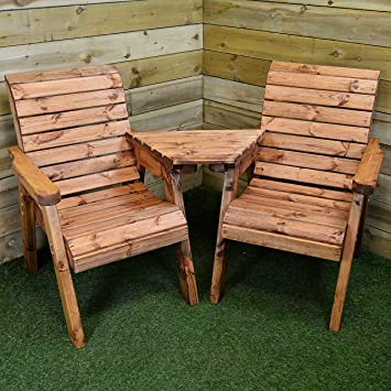 hand made 2 seater chunky rustic wooden garden furniture love seat with tray