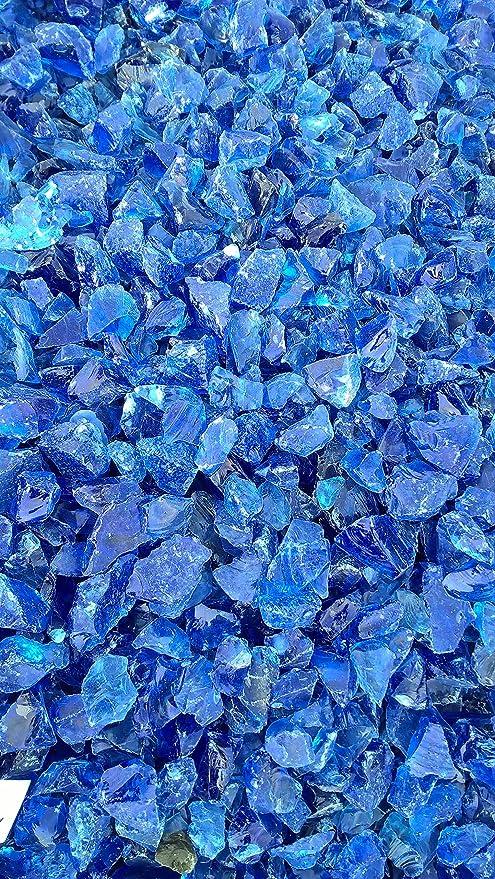 Glassteine 20 kg Gabionensteine Glasbrocken sky-blue 10 kg