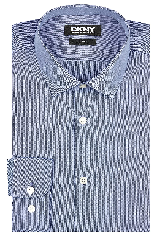 DKNY Men`s Slim Fit Navy Single Cuff Fine Stripe Shirt