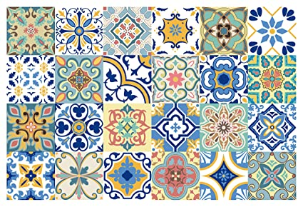 GSS Designs 24 PC Pack Traditional Mexican Talavera Tile Stickers For Bathroom Kitchen Backsplash Decoration