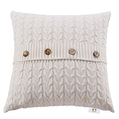 Zuanma Double Cable Knit Throw Pillow Cover 18 by 18 Inch Retro Style Palace Cushion Cover for Home Decor 100% Cotton Warm & Super Soft Without Filling (Lvory
