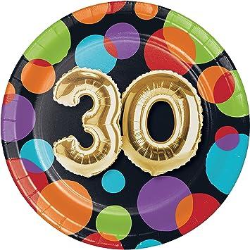 Amazon.com: Globo 30 Cumpleaños Platos De Postre, 24 ct ...