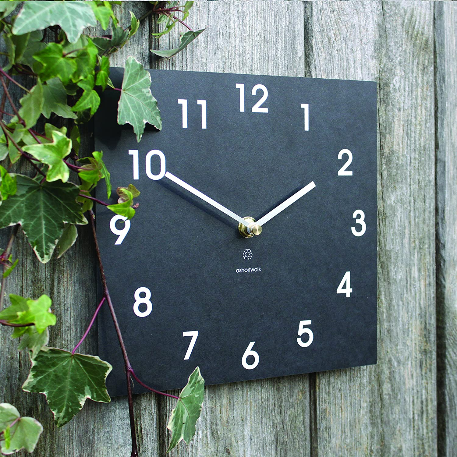 Bosmere W425 Eco Indoor Outdoor Recycled Wall Clock, Black