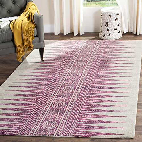 Safavieh Evoke Collection EVK226F Modern Bohemian Area Rug, 9 x 12 , Ivory Fuchsia