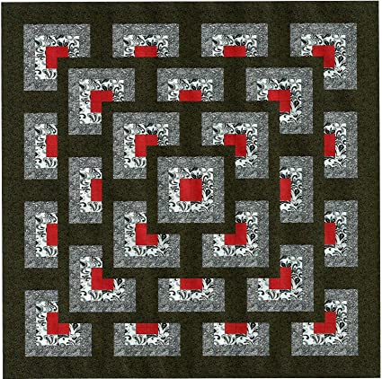 Amazon Easy Quilt Kit Boxed Maze Red Black Whitequeen