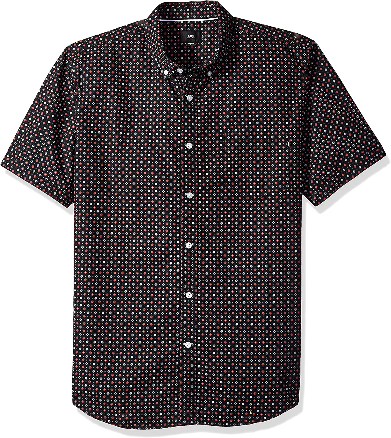 Obey Mens Sterling Slim Fit Woven Short Sleeve