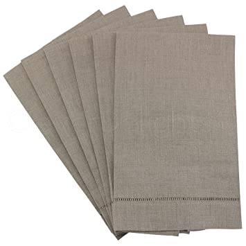 """6 unidades – CleverDelights hemstitched toallas de mano (lino Natural – 14 """"x"""