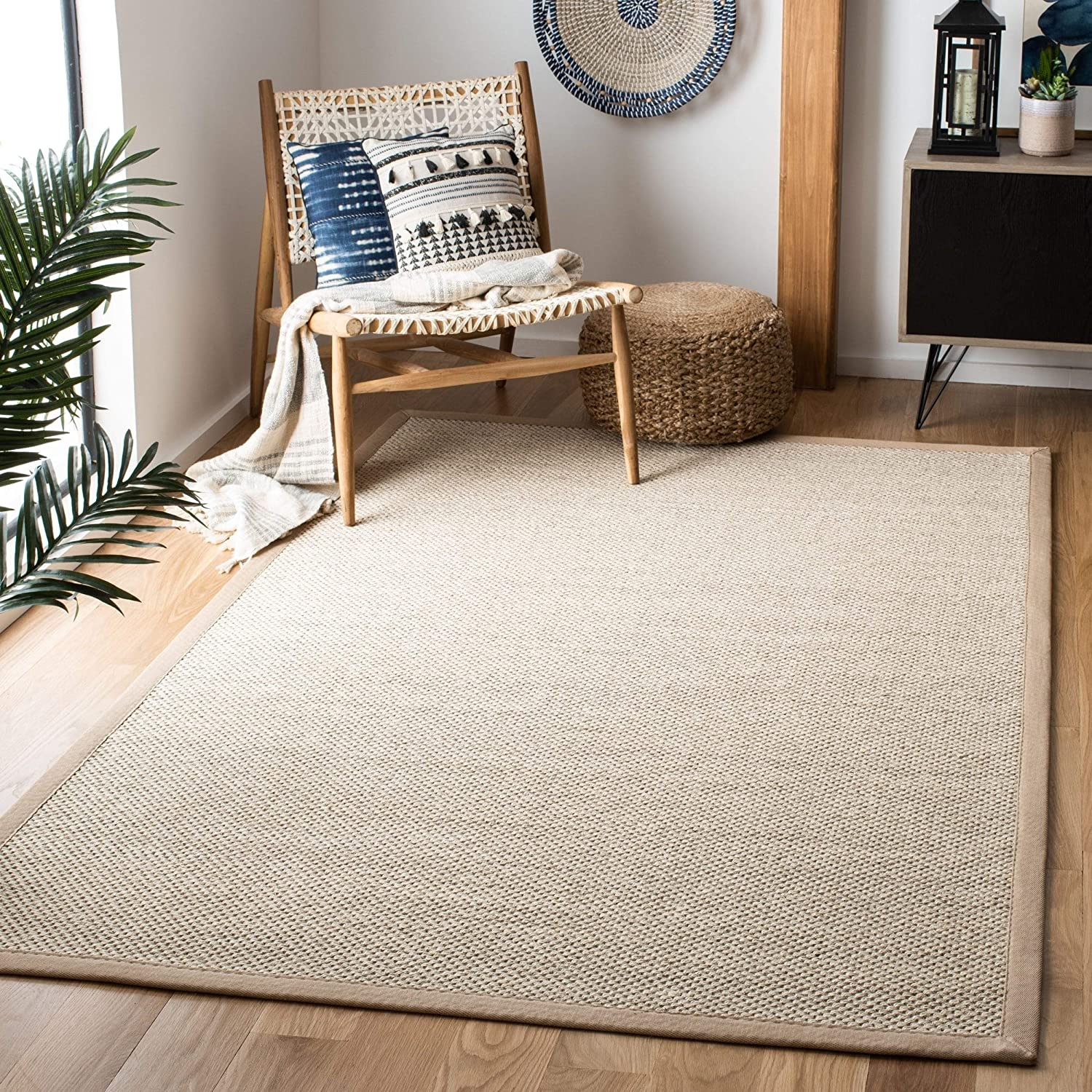 Amazon Com Safavieh Natural Fiber Collection Nf143b Border Sisal Area Rug 8 X 10 Marble Linen Furniture Decor