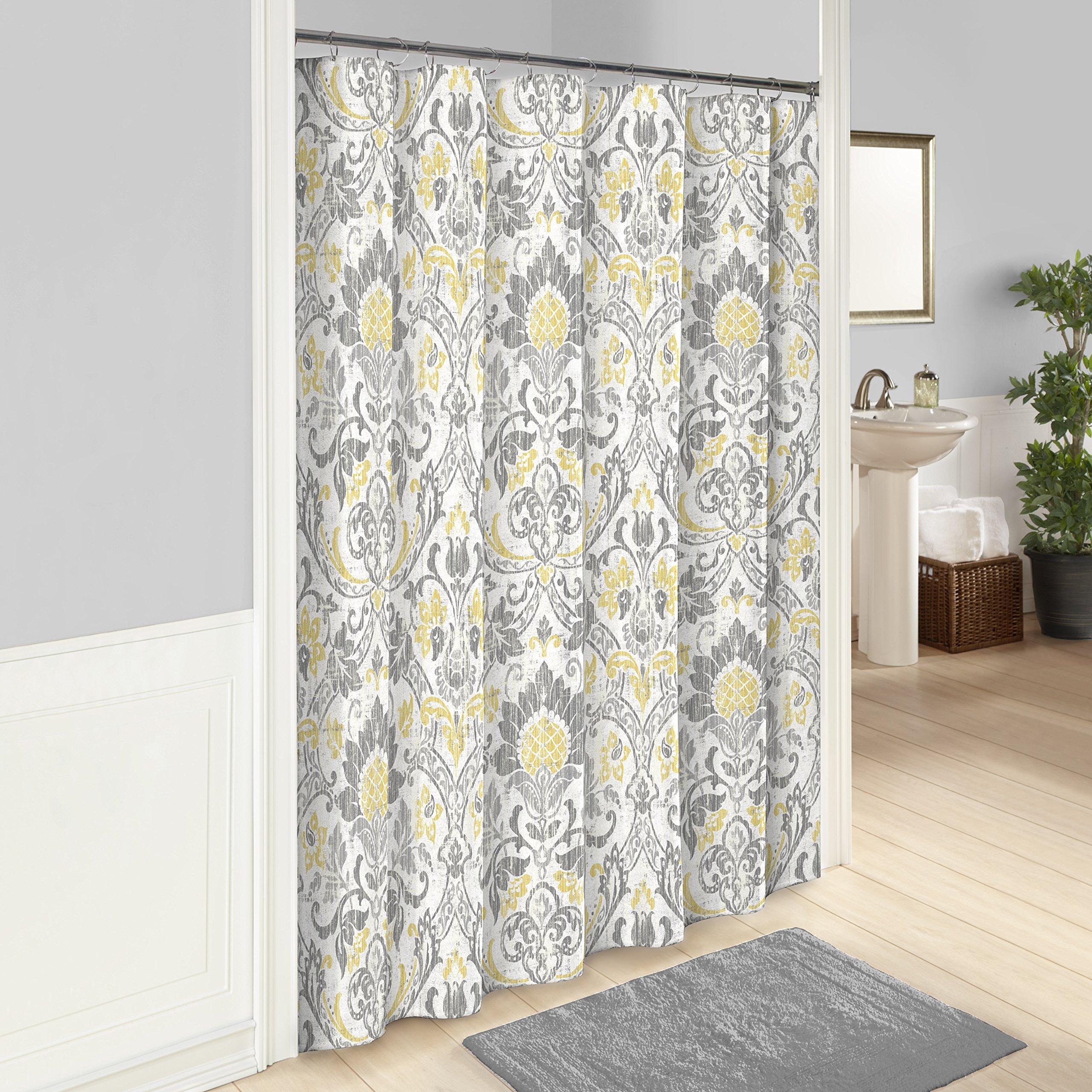 MARBLE HILL Shower Curtains for Bathroom - Rayna 72'' x 72'' Machine Washable Bath Curtains, Gray