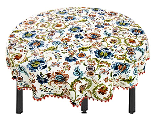 Miyanbazaz Textiles100% Cotton Multi Flower Fringe Round Table Cover / Tablecloth / (65 Inch) <span at amazon