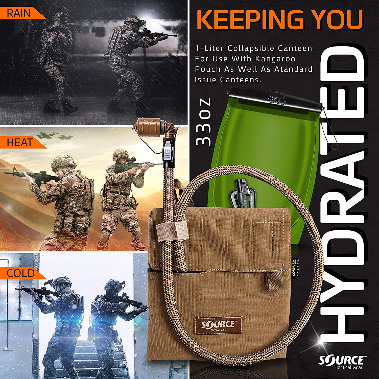 1 litro, con Bolsa Source Tactical Kangaroo Sistema de hidrataci/ón Plegable