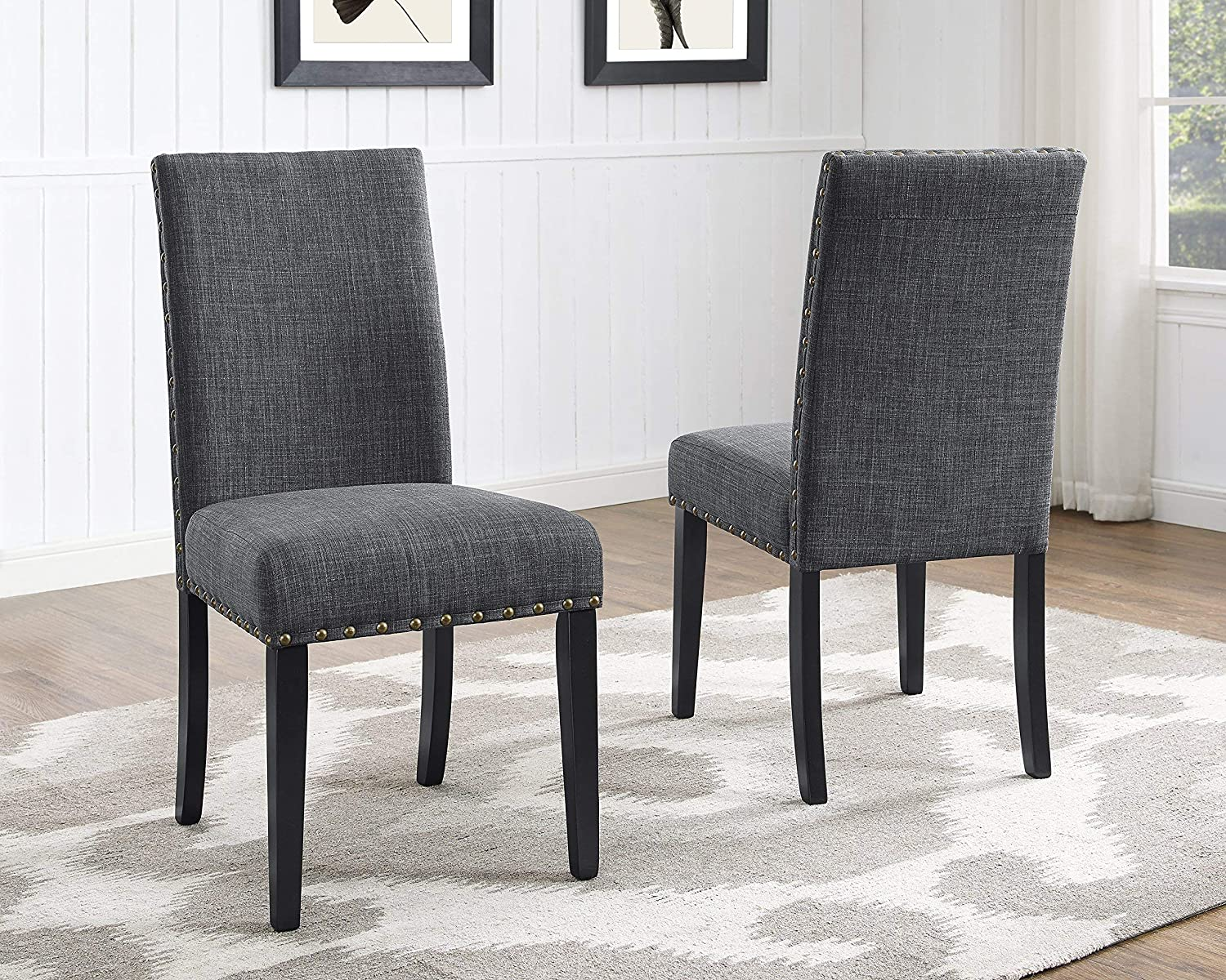 Roundhill Furniture Biony Gray Fabric Dining Chairs with Nailhead Trim, Set of 2 - Chairs