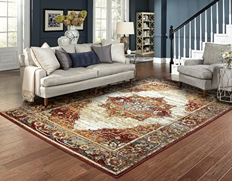Luxury Distressed Rugs for Living Room 8x10 Red Rug Prime Rugs 8x11