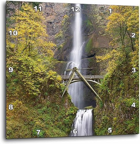3dRose DPP_93680_2 Oregon, Columbia River Gorge. Multnomah Falls-US38 BJA0675-Jaynes Gallery-Wall Clock, 13 by 13-Inch
