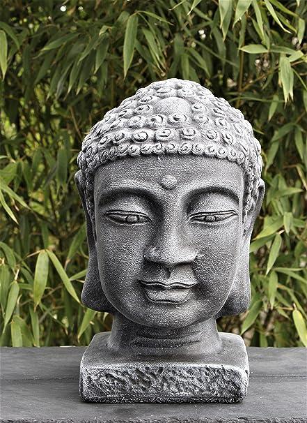 Buddha Kopf Deko.Buddha Kopf Groß Schiefergrau Garten Deko Figur Stein Statue Frostsicher