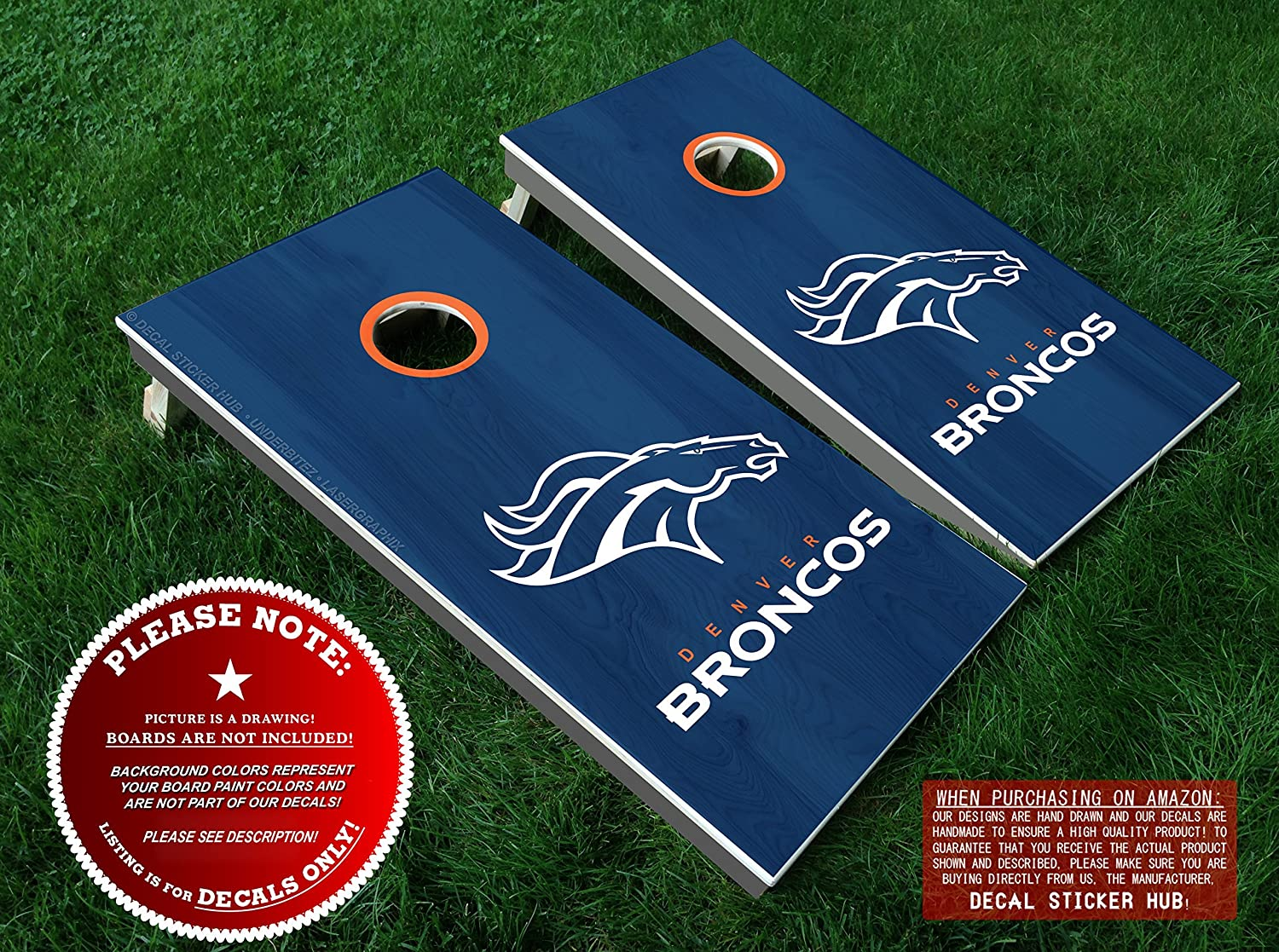 Broncos cornhole decals orange and white diy vinyl stickers for bean bag toss eight 8 vinyl decals for lawn games cornhole board building and
