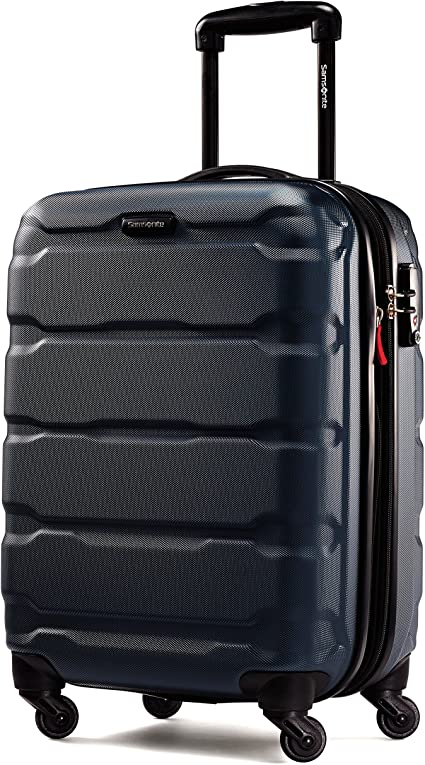 Samsonite Omni PC Hardside Expandable Luggage with Spinner Wheels, Navy, Checked-Large 28-Inch